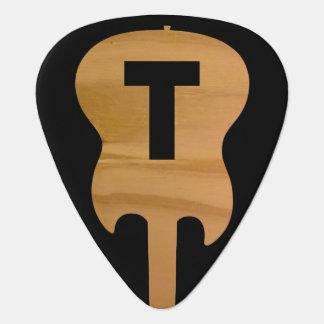 monograma de la eléctrico-guitarra, nombre del plectro