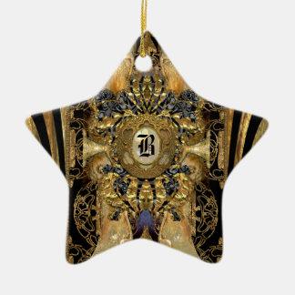 Monograma de la estrella del Victorian de Abasham Adorno Navideño De Cerámica En Forma De Estrella