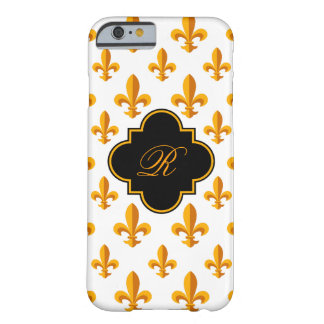 Monograma de la flor de lis funda de iPhone 6 barely there