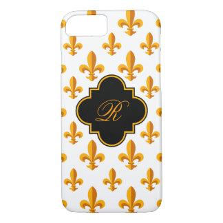 Monograma de la flor de lis funda iPhone 7