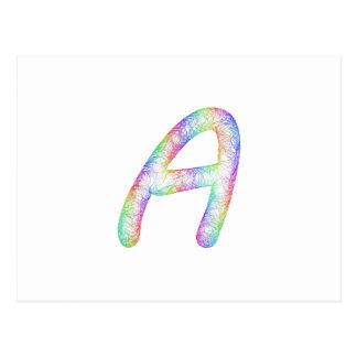 Monograma de la letra A del arco iris Postal