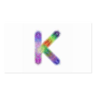 Monograma de la letra K del fractal Tarjetas De Visita