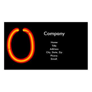 """Monograma de la luz de neón de la letra """"O"""" Tarjetas De Visita"""