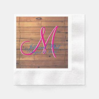 Monograma de la pared 3d del granero servilletas de papel