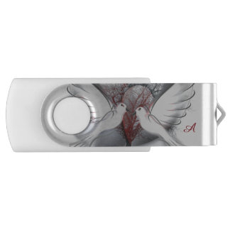 Monograma de las palomas del amor 8 memorias USB