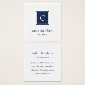 Monograma de los azules marinos y del blanco tarjeta de visita cuadrada