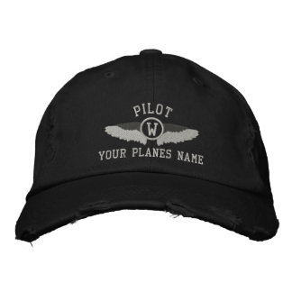 Monograma de los pilotos y nombre plano del gorras de beisbol bordadas