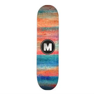 Monograma de madera colorido #2 de la textura del tablas de patinar