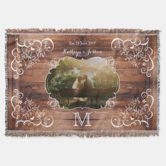 Monograma de madera del panel del arbolado de la manta tejida