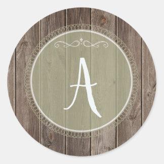 monograma de madera del pegatina