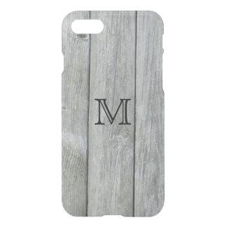 Monograma de madera gris rústico del personalizado funda para iPhone 7