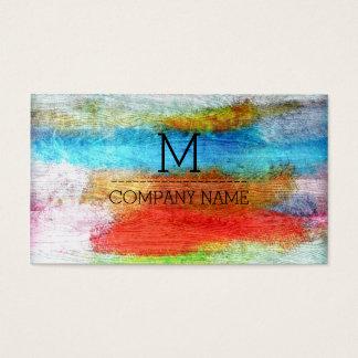 Monograma de madera moderno colorido profesional tarjeta de negocios