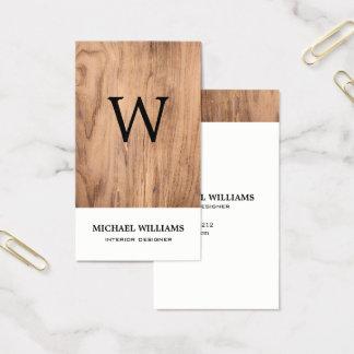 Monograma de madera rústico del vintage elegante tarjeta de visita