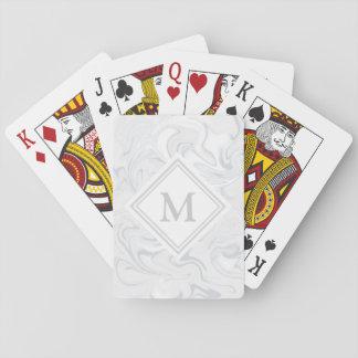 Monograma de mármol gris de lujo del diamante de baraja de cartas