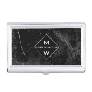 Monograma de mármol negro profesional moderno liso caja de tarjetas de visita