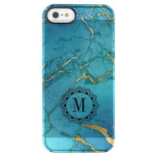 Monograma de piedra de mármol azul elegante funda transparente para iPhone SE/5/5s