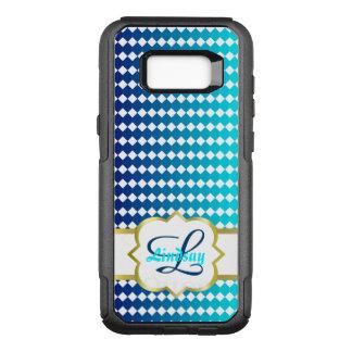 Monograma de Quatrefoil y modelo azul de los Funda Otterbox Commuter Para Samsung Galaxy S8+