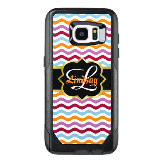Monograma de Quatrefoil y ondas retras coloridas Funda OtterBox Para Samsung Galaxy S7 Edge