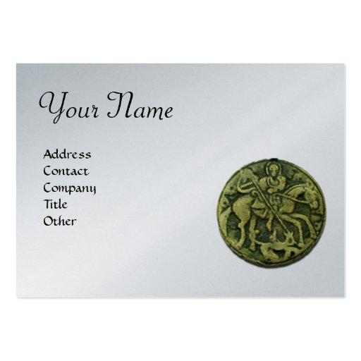 Monograma de SAN JORGE, platino metálico, verde Plantilla De Tarjeta De Visita