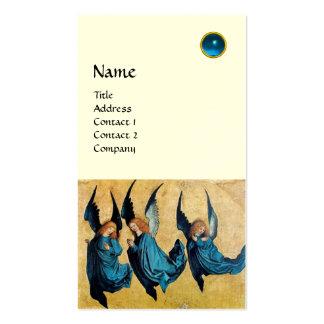 MONOGRAMA de TRES ÁNGELES, zafiro azul, blanco Tarjetas De Visita