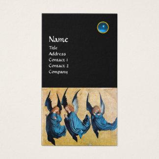 MONOGRAMA de TRES ÁNGELES, zafiro azul, negro Tarjeta De Negocios