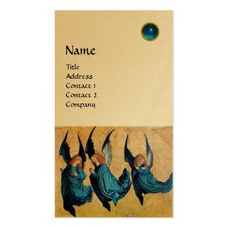 MONOGRAMA de TRES ÁNGELES, zafiro azul, oro Tarjetas De Visita
