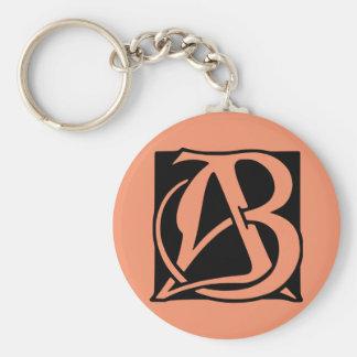 Monograma del AB con el fondo negro Llavero