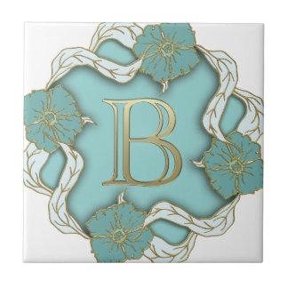monograma del alfabeto b azulejo de cerámica