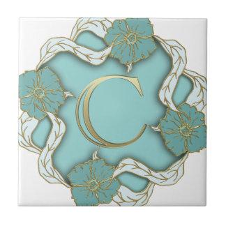 monograma del alfabeto c azulejo de cerámica