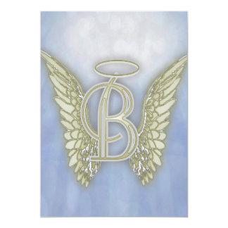 Monograma del ángel de la letra B Invitación 12,7 X 17,8 Cm