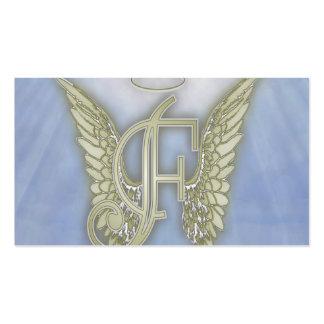 Monograma del ángel de la letra F Tarjetas De Visita