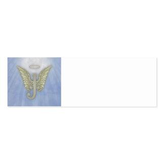 Monograma del ángel de la letra J Tarjetas De Visita Mini