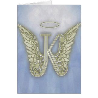 Monograma del ángel de la letra K Tarjeta De Felicitación