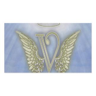 Monograma del ángel de la letra V Plantillas De Tarjetas Personales
