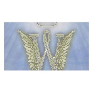 Monograma del ángel de la letra W Tarjetas De Negocios