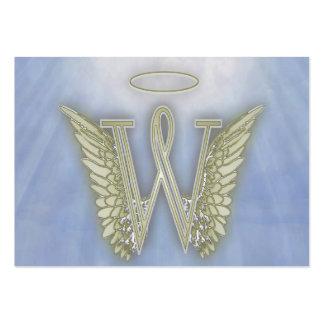 Monograma del ángel de la letra W Tarjetas De Visita Grandes