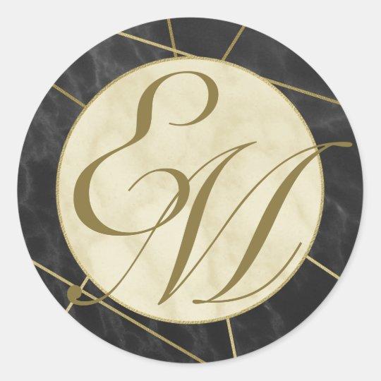Monograma del art déco del mármol y del oro pegatina redonda