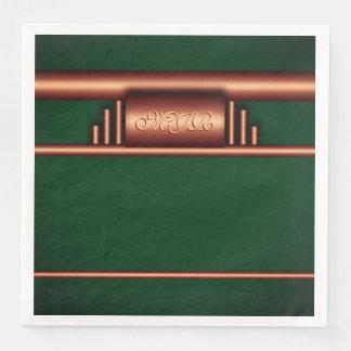 Monograma del art déco en coppper y el verde de servilletas desechables