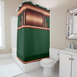 Monograma del art déco en latón y el verde de cortina de baño