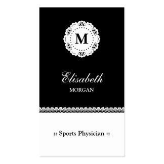 Monograma del blanco del negro del médico de los tarjetas de visita