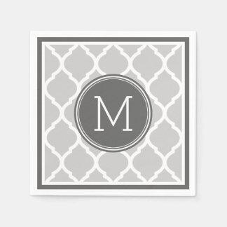 Monograma del boda de Quatrefoil del gris y del Servilletas Desechables