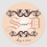 Monograma del boda del Arabesque (se ruboriza el r Etiqueta