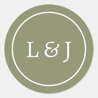 Monograma del boda del verde verde oliva y del pegatina redonda