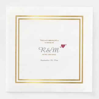 monograma del boda en la cena blanca servilleta desechable