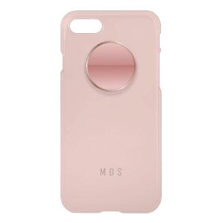 Monograma del botón del rosa color de rosa funda para iPhone 7