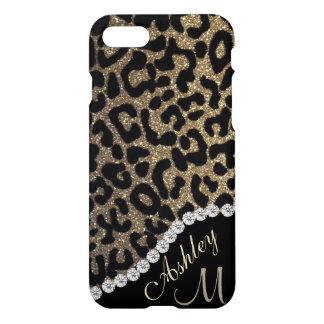 Monograma del brillo del diamante y del leopardo funda para iPhone 7