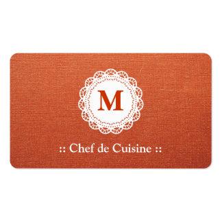 Monograma del cordón de Chef de Cuisine Elegant Tarjetas De Visita
