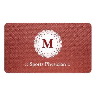 Monograma del cordón del médico de los deportes tarjetas de visita