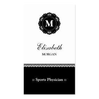 Monograma del cordón del negro del médico de los tarjetas de visita