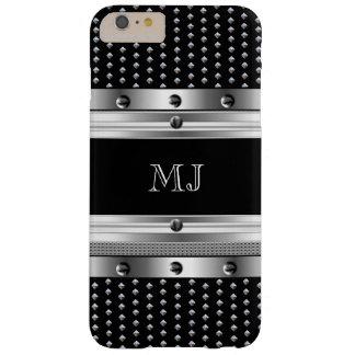 Monograma del cromo de la mirada del metal de los funda barely there iPhone 6 plus